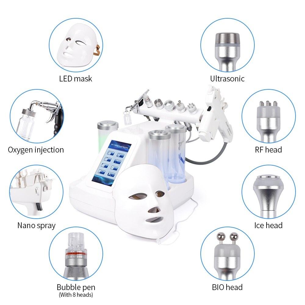 جهاز فراغ 8 في 1 لتنظيف الوجه ، جهاز تنقية المياه بالأكسجين النفاث ، وظيفة الانس ، تنظيف المسام ، تدليك الوجه ، جهاز العناية بالبشرة بالفقاعات ...