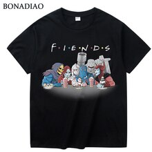 빈티지 만화 우주 스켈레톤 슈레더 메가 트론 t 셔츠 캐주얼 카미 세타 라운드 넥 웃긴 친구 옴므 티셔츠