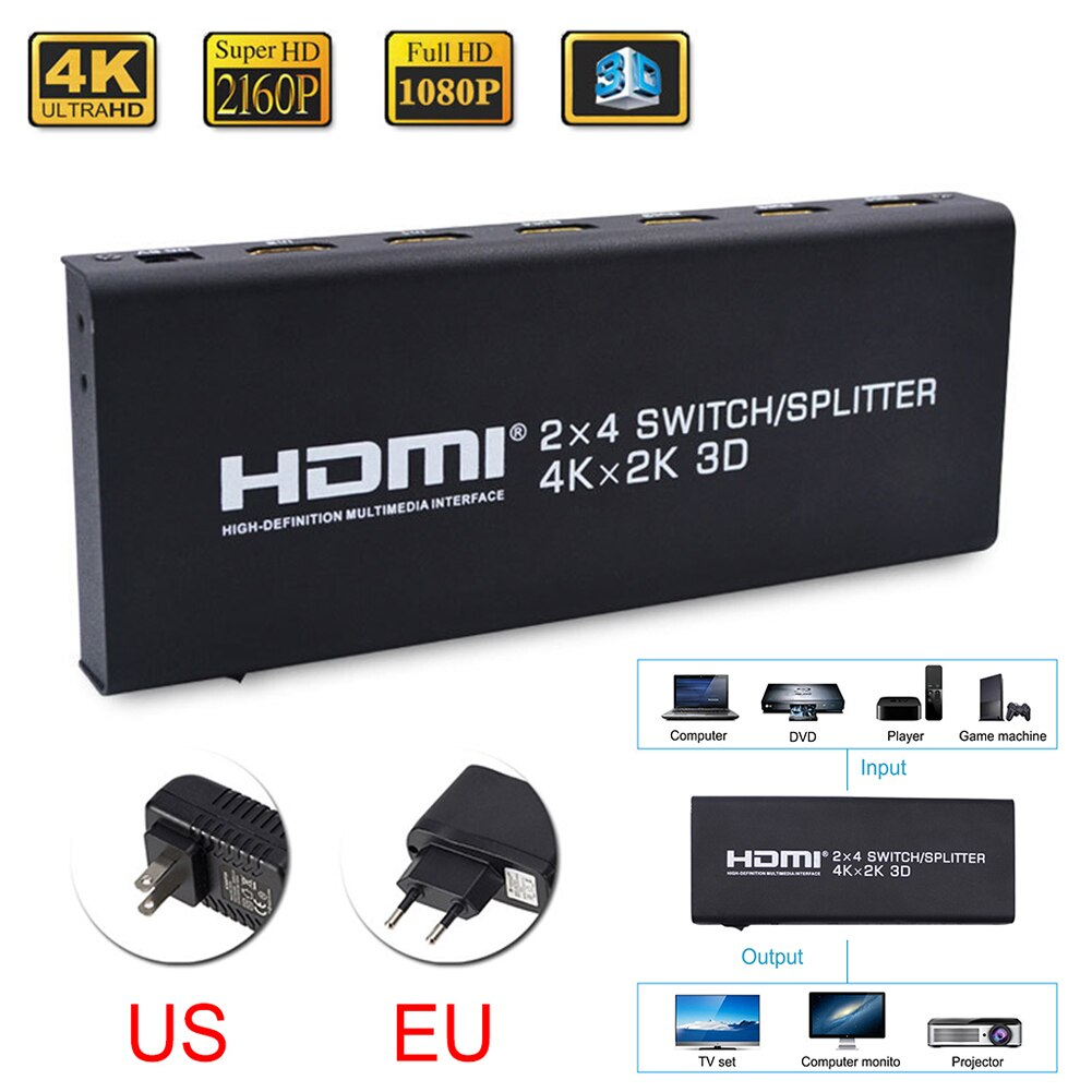 4K HDMI 2 en 4 out 2,0 divisor de interruptor HDMI 2x4 adaptador de convertidor Extractor de Audio Control remoto 3D 1080p para ordenador