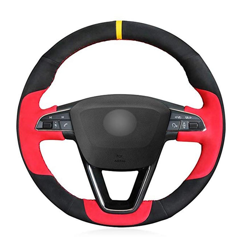 Black Red Suede Car Steering Wheel Cover for Seat Leon Arona Ateca Alhambra 5F Mk3 Ibiza 6J Tarraco Alhambra 2016-2019