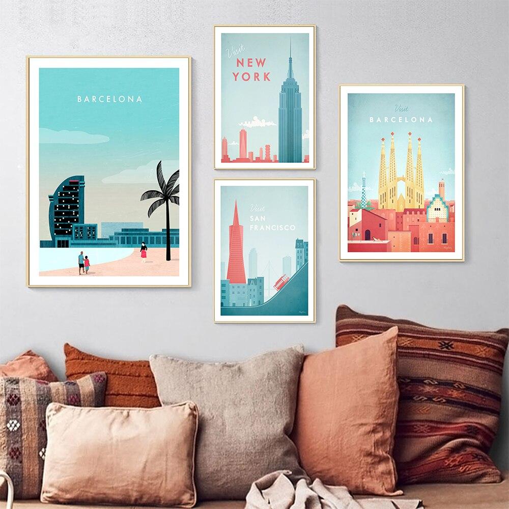 Póster de viaje HD impresiones imágenes para la pared Barcelona cartel estilo...
