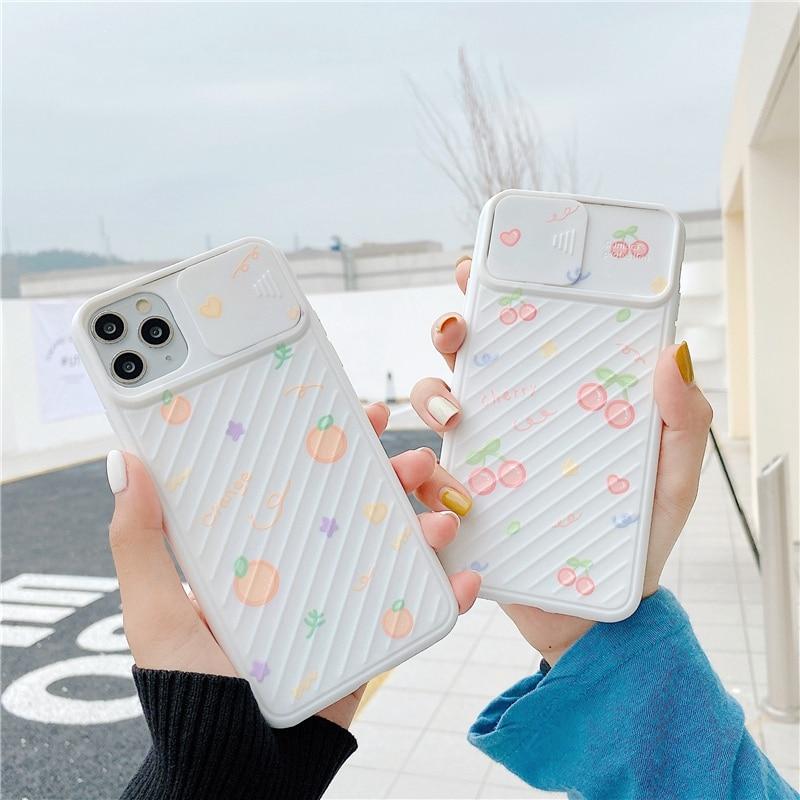 Funda de teléfono de protección de lente de cámara de dibujos animados cherry para iphone 11 11 11pro Max SE X XR XS Max 7 8 Plus, funda de silicona suave mate