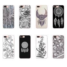 Dreamcatcher White On Black Lace Flower For HTC Desire 530 626 628 630 816 820 830 One A9 M7 M8 M9 M10 E9 U11 U12 Life Plus