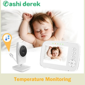 Wireless Temperature Monitor 2.4GHz Music Play HD Nanny Monitor with Camera 960ft 3.2'' TFT Lcd Babysister Monitor Night Vision