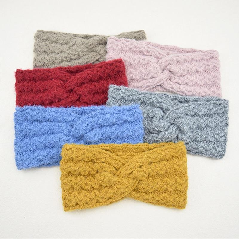 New Women Hairband Twist Cross Wool Knitting Hairband Winter Plush Ear Warmer Crochet Headwrap Knitted Headband Hair Accessories