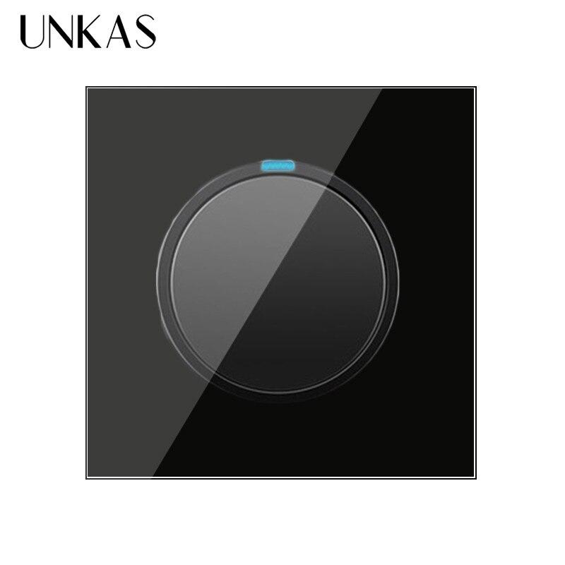 Unkas 1 gang 1 way aleatório clique em/fora interruptor de luz de parede com indicador led cavaleiro preto cristal painel vidro temperado