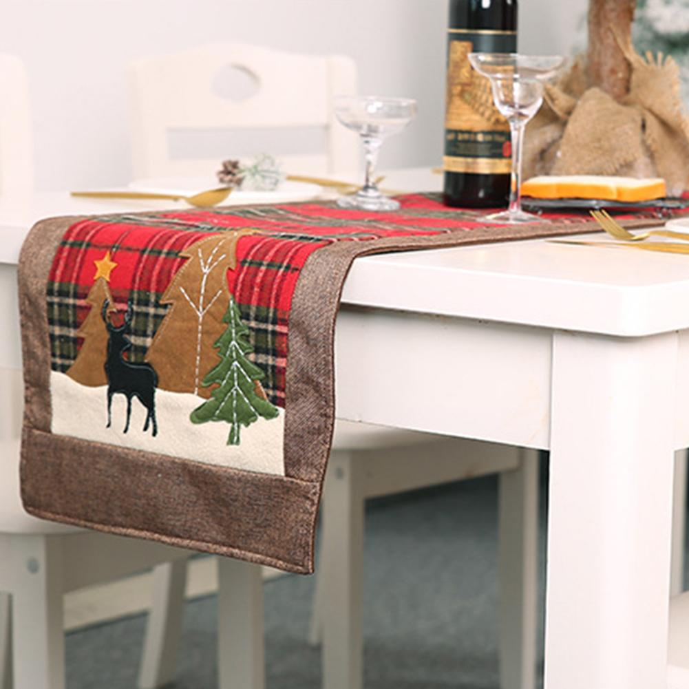 Único árbol de Navidad Elk impreso mantel alfombra de mesa cubierta de telas de alta calidad Festival Año Nuevo Navidad Fiesta Deco