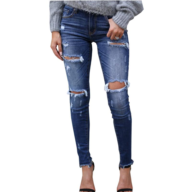 European American qualität frauen jeans mode baumwolle elastizität kugel loch Dünne weiß schleifen handwerk schlanke füße hosen frauen