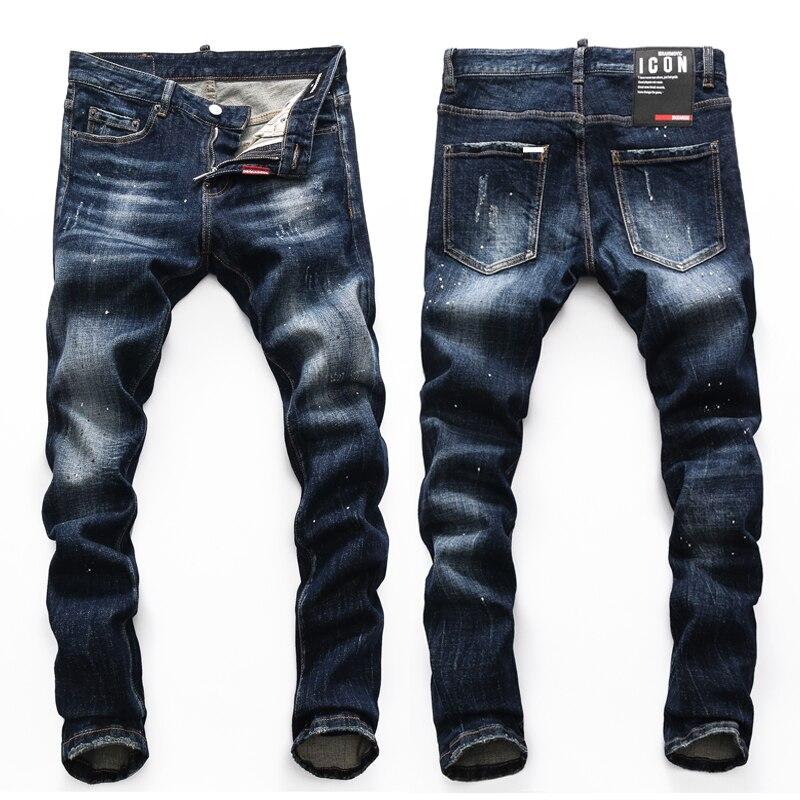 European Nightclub style dsq2 brand black Italy jeans luxury Men denim trousers Patchwork Slim letter jeans Pencil Pants for men