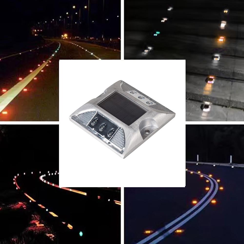 2 uds., luz Led Solar para carretera, luz de suelo de inducción de 6 ledes de doble cara para suelo