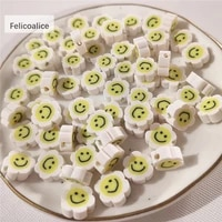 40pcslot smiley face flowers polymer clay shape spacer beads for diy handmade jewelry craft accessories 10mm