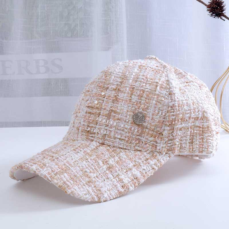 Новинка 2021, стильные бейсболки в клетку, роскошные новые женские бейсболки с надписью M для женщин, регулируемые модные блестящие шапки в ст...