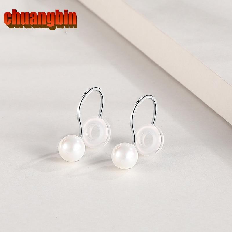 Joyería Simple S925 plata esterlina zircon orejas femeninas No perforadas pendientes lisos clip simple pequeño y lindo hebilla de oreja