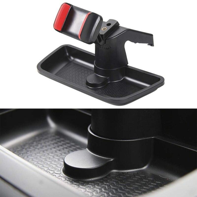 Black ABS Cell Mobile Phone Ipad Holder Car GPS Bracket Dash Mount Holder Storage Organizer Box for Jeep Wrangler JK 2012-2017