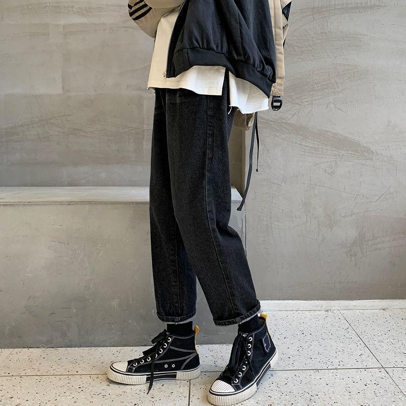 HybSkr Men's Black Solid Jeans 2021 Fashion Casual Oversize Denim Pants Male Patchwork Straight Jeans Hip Hop
