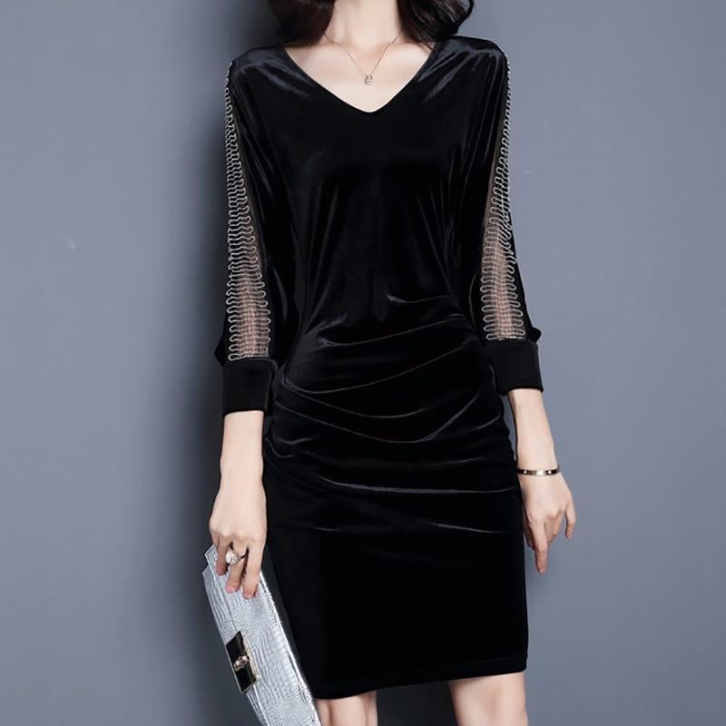 2019 New Women Large Size Slim Three Quarter Sleeve Stitching A-line Mesh Dress Y6