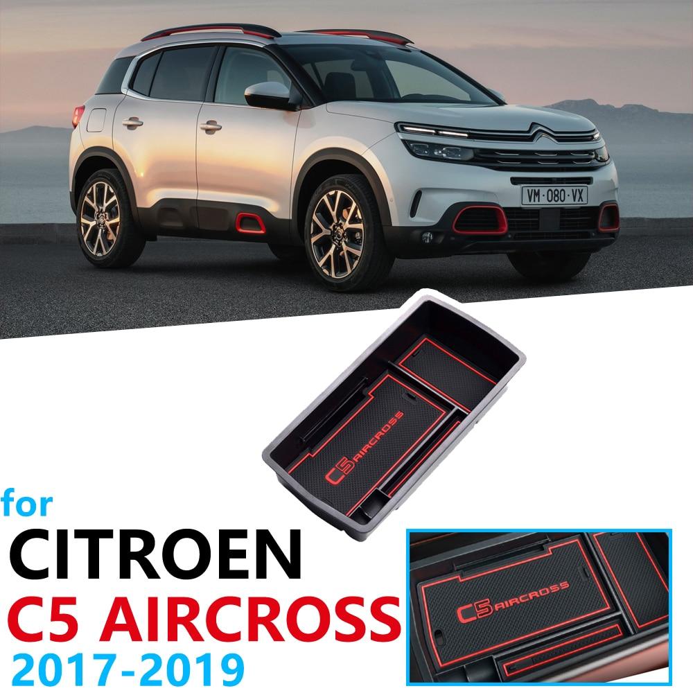 Accesorios de organizador de coche para Citroen C5 Aircross 2017 2018 2019 2020 caja de reposabrazos, almacenamiento, tijera, estera antideslizante, moneda