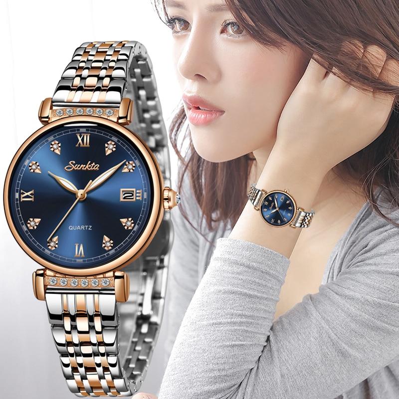 ساعة يد نسائية فاخرة من Montre Femme SUNKTA, ساعة يد نسائية بتصميم إبداعي من الإستانلس ستيل