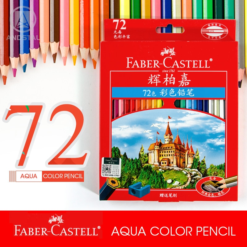 Andstal FABER-CASTELL 72 Colors Water Color Pencil professional watercolor pencils aqua colored set for drawing Wood