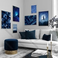 abstract art pictures canvas painting wall poster girl diving blue crystal banana leaf little stones for home rooms wall decora