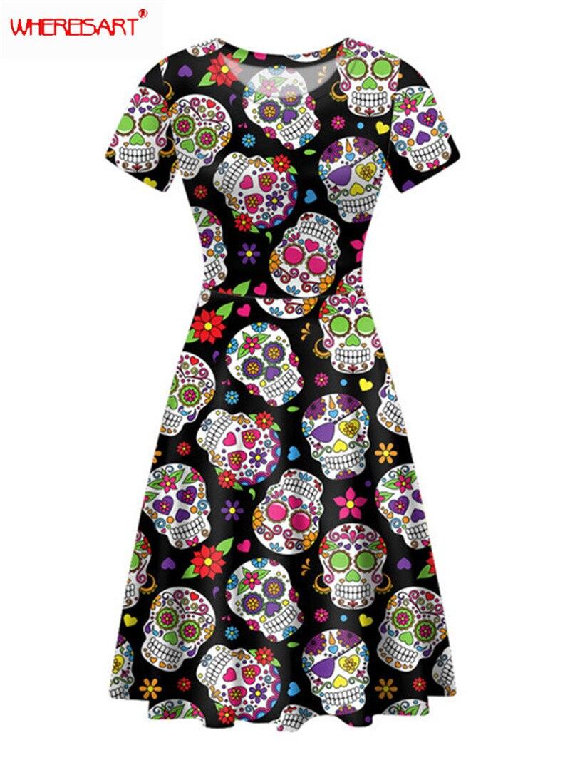 WHEREISART Ladies Short Sleeve Dress Summer Tribal  Skull Print Female Prom Dress Fashion Streetwear