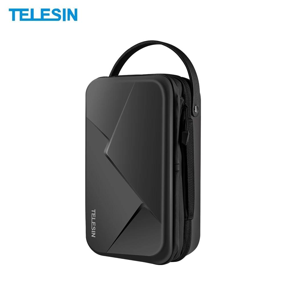 TELESIN-حقيبة حمل صلبة للكاميرا ، مقاومة للماء ، حقيبة تخزين ، حقيبة واقية ، شاحن بطارية لكاميرا GoPro Hero 9 ، Gopro9 ، Hero9 ، أسود