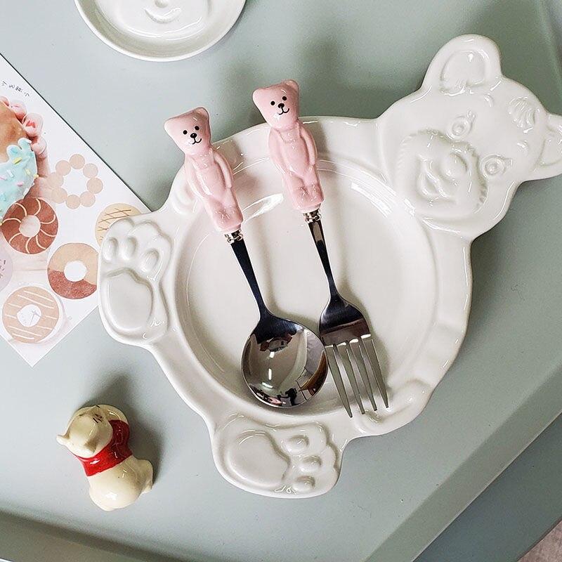 الكورية الكرتون طالب المائدة مع ملعقة شوكة INS لطيف الدب أطباق سيراميك الحلوى الإفطار الحبوب الفاكهة سلطة وعاء الحساء