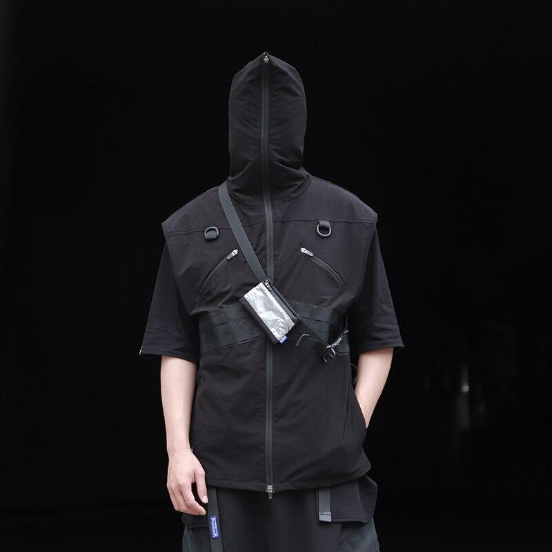 WHYWORKS Techwear тактический на молнии карго капюшон жилет хип-хоп стиль панк Мода