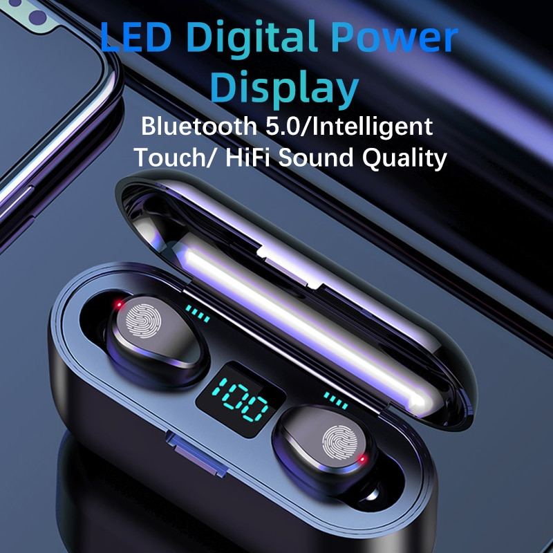 New F9 Wireless Bluetooth 5.0 Earphone TWS HIFI Mini In-ear Sports Running Headset Support iOS/Andro