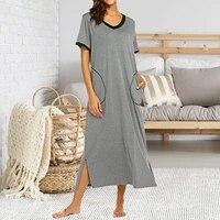 bed skirt household products deep v neck short sleeved solid color bed dress spring summer stitching hem slit dress with pocket