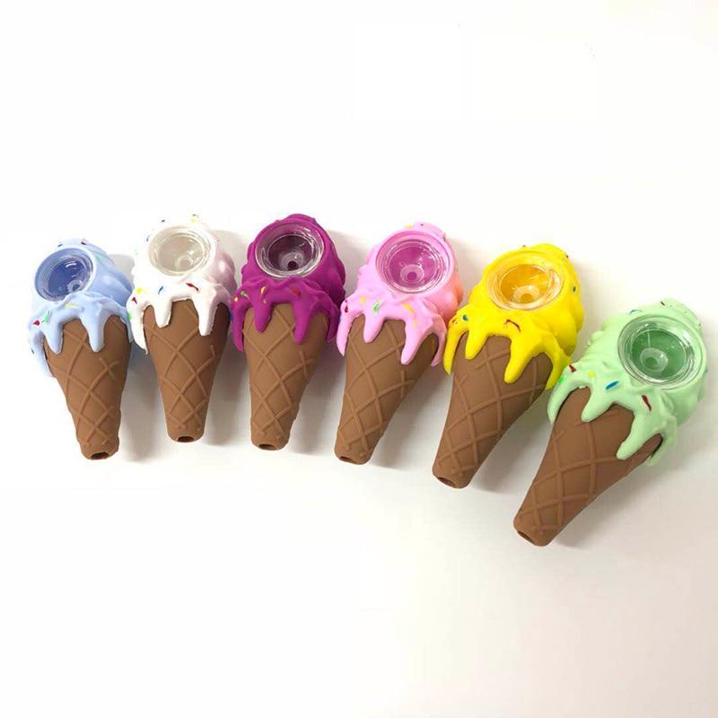 Único criativo ice-cream design tubo de fumo de vidro queimador de óleo de tabaco tubos de tabaco tubo de cigarro acessório aleatoriamente cor-1