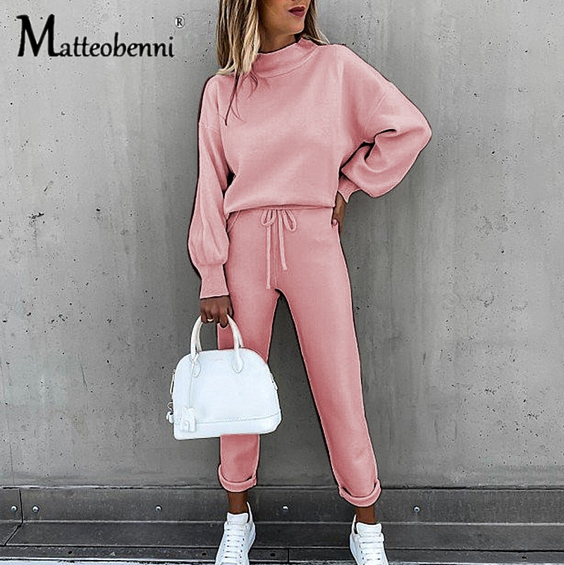 New 2021 Women Two Piece Set Spring Fall Long Sleeve Turtleneck Sweatshirt Pant Casual Suits Solid Color Streetwear Loose Ladies