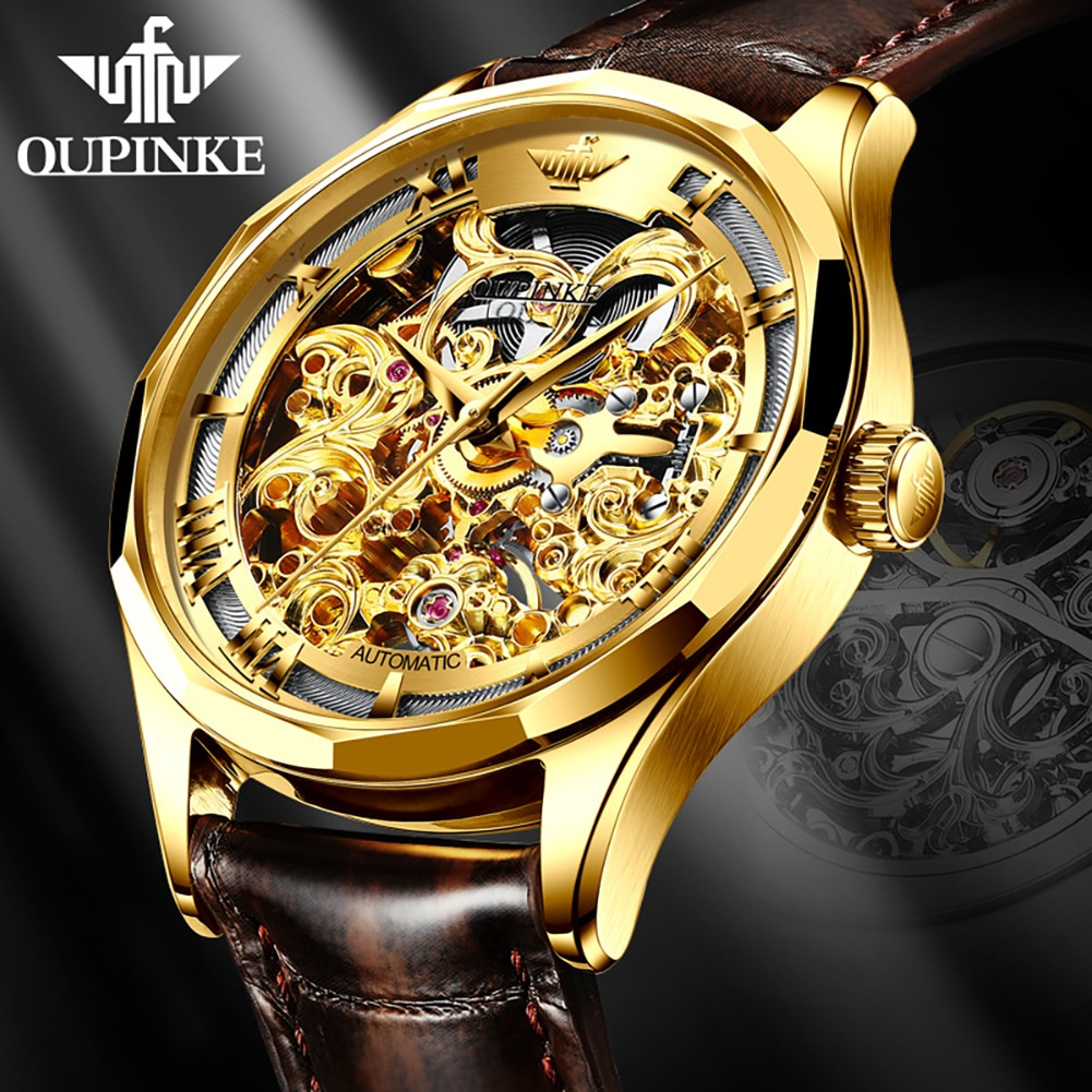 OUPINKE Watch for Men Automatic Mechanical Watches Fashion Wristwatches Leather Men's Luxury Wrist W