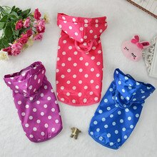 Waterproof Dog Dot Raincoat Clothes Puppy Cat Leisure Hoodies Apparel Rain Coat Jacket Pet Costumes
