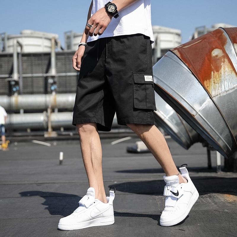 Шорты мужские пляжные с лентами, Повседневная Уличная одежда в стиле хип-хоп, шорты-карго, мужские шорты-карго, лето 2021