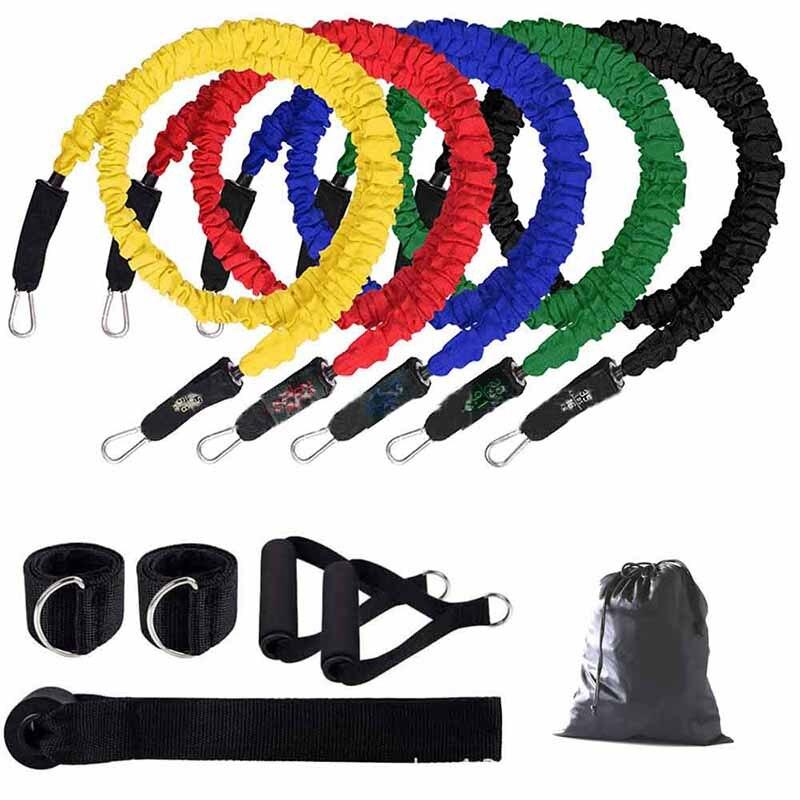 TPE 11 قطعة مجموعة من حزام المقاومة حبل اليوغا سحب حبل رياضة التدريب حزام لياقة المنزل ممارسة التدريب معدات