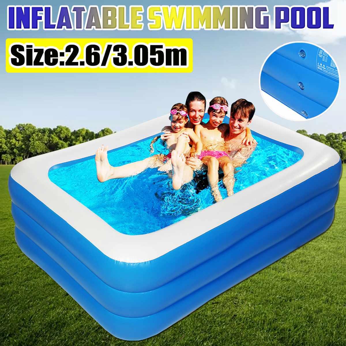 مسبح كبير قابل للنفخ من 3 طبقات للكبار والأطفال ، مسبح خارجي وداخلي ، لعبة مائية ، 3.05 متر