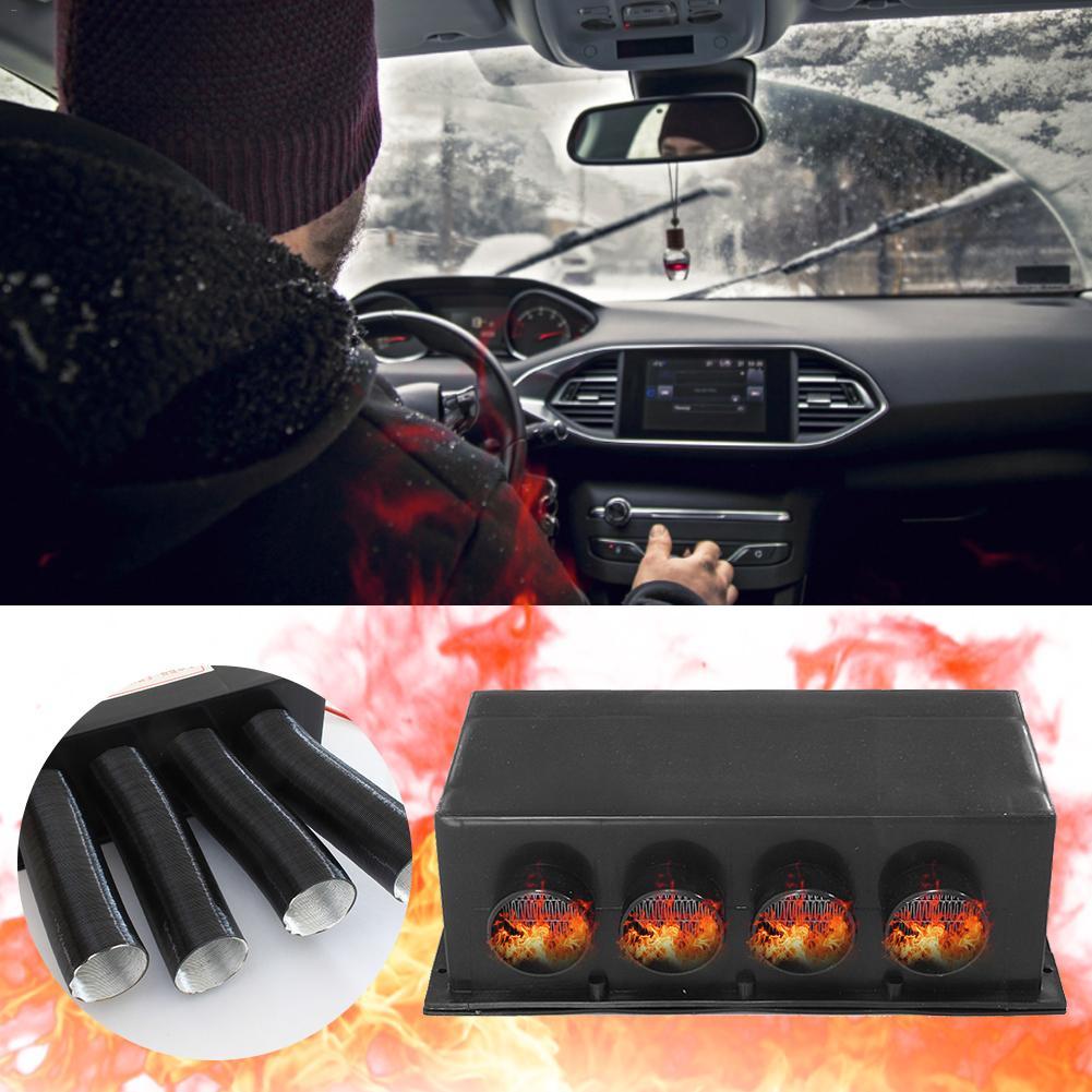 24V 4 puertos 800W calentador de coche de calefacción rápida desbobinador parabrisas desbobinador Demister Auto calentador para camiones autobuses campistas caravanas