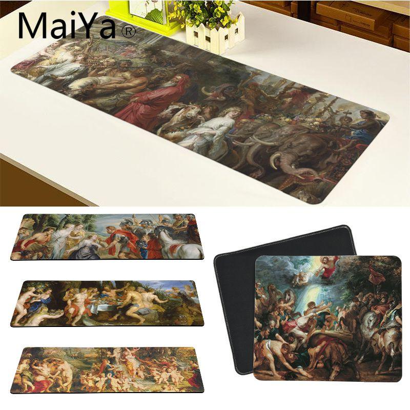 Maiya, alfombrilla de ratón de alta calidad con arte religioso Medieval Rubens, alfombrilla de ratón para juegos, envío gratis, alfombrilla grande para ratón, alfombrilla para teclado