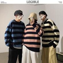 Chandails masculins rayés, vêtements masculins, pull de Style coréen, Harajuku Streetwear, pour Couple, automne 2020