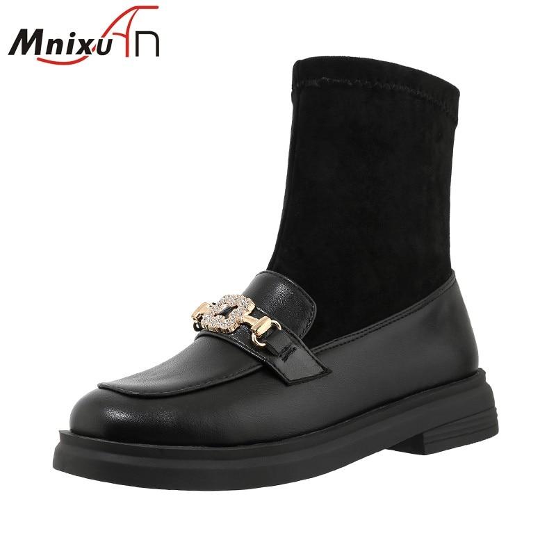Zapatos de invierno para mujer, botines anchos para mujer, botines de tacón grueso con plataforma y punta redonda, botines de 2020 nuevo calcetín negro para mujer, talla grande 42