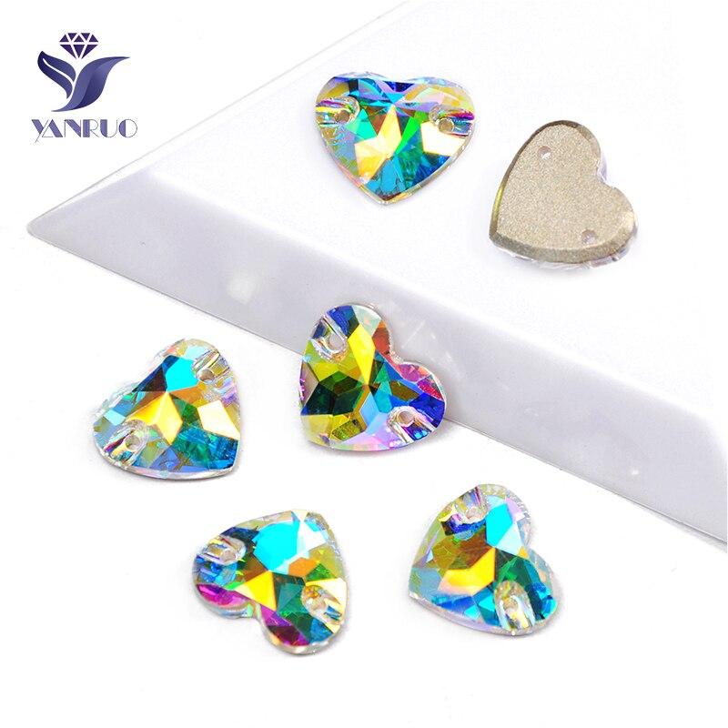 YANRUO 3259 все размеры AB сердце DIY ремесла Flatback Стеклянные Стразы пришивные камни и кристаллы для украшения платья