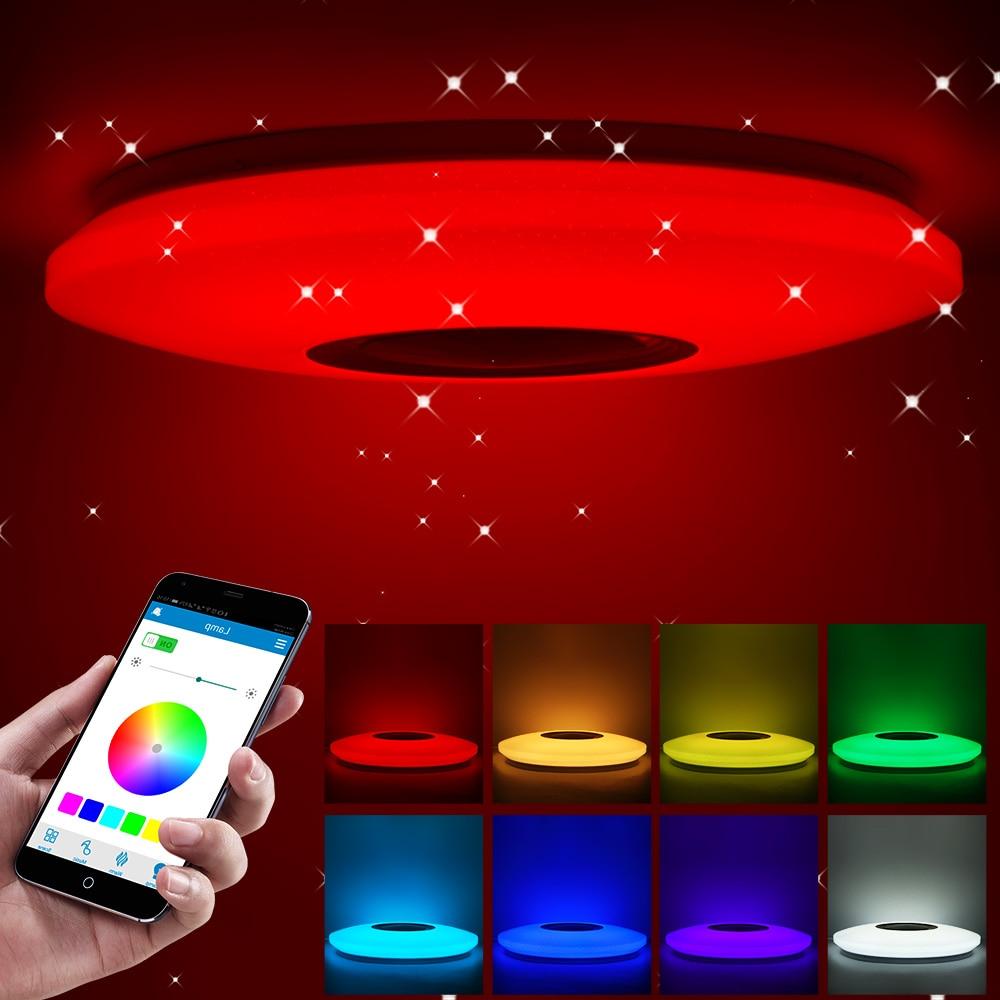 Lámpara de luz Led de techo musical 36-60W RGB montaje integrado luz de estrellas redonda música luz que cambia de Color con Altavoz Bluetooth