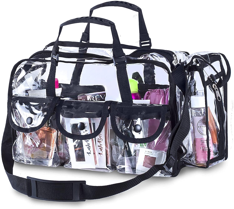 Premium Clear Makeup Organizer PVC Toiletry Bag Transparent Cosmetic Bag For Women Sturdy Zipper & 7