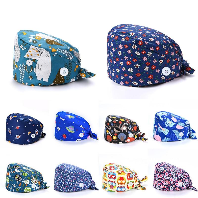 1PC New Scrub Nurse Hat gorros quirurgicos Floral Bouffant Sanitary Cap with Sweatband Cartoon Print