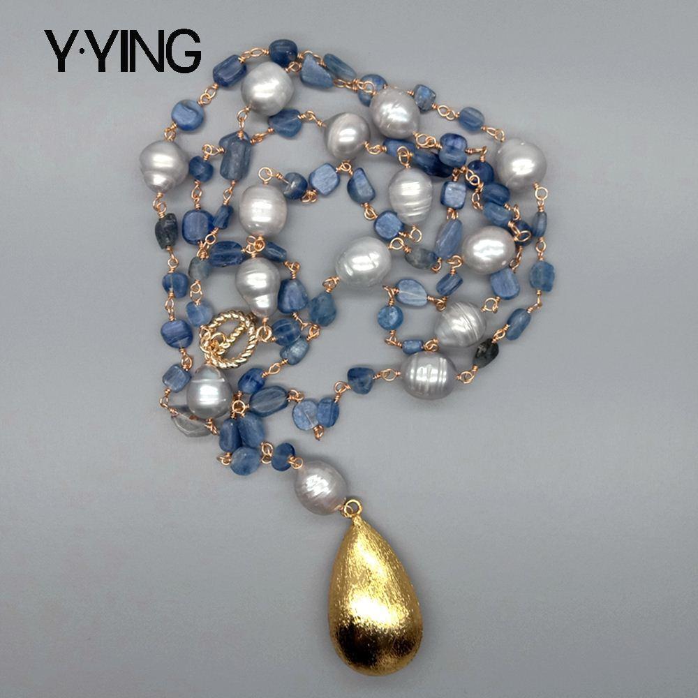 Y · YING-عقد كيانيت أزرق ، لؤلؤ المياه العذبة ، قلادة مطلية بالذهب المصقول ، 21 بوصة