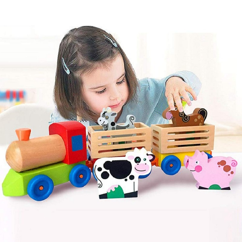 Tren de madera para niños, juguetes para niños, juego de iluminación intelectual para desarrollo de combinación de animales de granja
