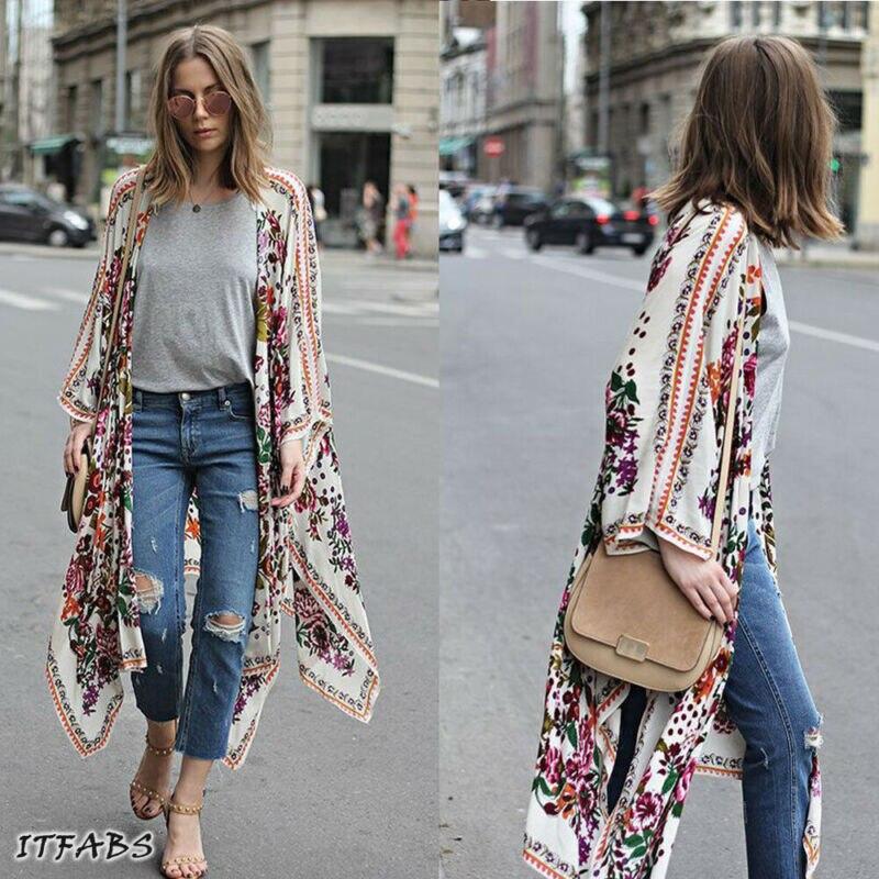 UK mujeres chal largo abrigo Boho gitano suelto Top Floral Kimono Cardigan ropa de abrigo