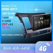 PX6 Android 9,0 DSP Auto Radio Für 2006-2011 Honda Civic Multimedia Video Player Navigation GPS wifi 4G OBD SWC Kamera TMPS 1din