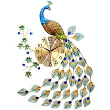 Horloge murale paon européenne   Décoration murale, création de montre de salon, horloge décorative moderne, Silence, décorations murales en métal pour salon